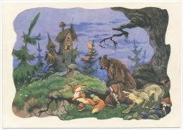 USSR Russia Stationery Card 1962 Mushrooms Forest Moon Fox Bear Wolf Pilze Wald Mond Fuchs Bär °PK0101 MNH - Pilze