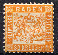 BADEN 1862 Perf.10 - Mi.22 (Yv.21, Sc.25) MH (VF) - Baden