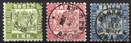 BADEN 1868 Perf.10 - Mi.23-25 (Yv.23-25, Sc.26-28) Used Set (perfect) VF - Baden