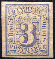 HAMBURG 1859 Wmk Imperf - Mi.4 (Yv.4, Sc.4) MH (orig. Gum) All Margins (perfect) VF - Hamburg