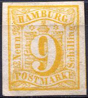HAMBURG 1859 Wmk Imperf - Mi.7 (Yv.7, Sc.7) MNG (no Gum) Large Margins (perfect) VF - Hamburg