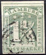 HAMBURG 1864 Wmk Imperf - Mi.8 (Yv.9, Sc.9d) Used (cancel Thurn-Taxis 2) Perfect (VF) Signed Richter - Hamburg