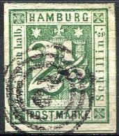 HAMBURG 1864 Wmk Imperf - Mi.9 (Yv.10, Sc.12) Used (cancel Thurn-Taxis 2) Perfect (VF) - Hamburg