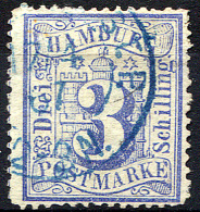 HAMBURG 1864 Wmk Perf.13.5 - Mi.15 (Yv.17, Sc.17) Used (blue Cancel) VF Double Signed - Hamburg