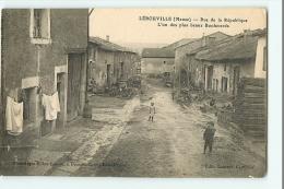 LEROUVILLE - Rue De La République Animée - Edition Leconte - Phototypie Billou Frecon - 2 Scans - Lerouville