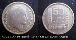 ALGERIA - 50 Francs - 1949 - KM 92 - AUNC - Agouz - Algérie