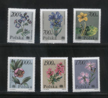 POLAND 1990 ENDANGERED PLANTS SET OF 6 NHM PAIRS FLOWERS FLORA - Planten