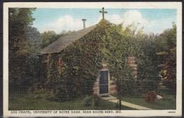 3141. USA, 1938, Log Chapel - University Of Notre Dame - IN, Postcard - South Bend