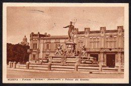 1936 CARTOLINA DI MESSINA - FONTANA NETTUNO MONTORSOLI E PALAZZO DEL GOVERNO - VIAGGIATA - Messina