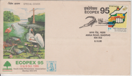 India 1995  Crocodile / Alligator Cancellation Birds  ECOPEX  Special Cover # 81109 Inde Indien - Reptiles & Amphibians