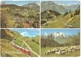 TRAIN Suisse - EISENBAHN Schweiz - VILLARS BRETAYE - 4 Vues Dont Autorail (tramway) - Trains