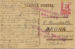Spain 1937 Picture Postcard Of Cinema Actor From Belmez To Italy With 30 Cts. And Military Censorship Handstamp - Marcas De Censura Nacional