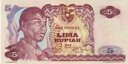 BILLET # INDONESIE # 5 RUPIAH  # LIMA RUPIAH #  PICK 104 # 1968 #  NEUF # - Indonesia