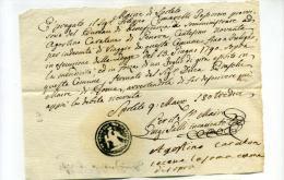DC983-1813 REGNO NAPOLEON.SPOLETO Documento Con Timbro NEGATIVO Con AQUILA Per Consegna C.90 Per INDENNITA' VIAGGIO - Documents Historiques