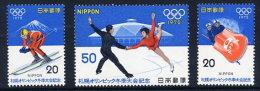 JAPAN 1972 Winter Olympic Games, Sapporo, Set Of 3  MNH / **.  Sc. 1103-05 - 1926-89 Emperor Hirohito (Showa Era)