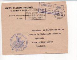 """1966 Caen R.P. - Flamme Sécap """"Moto Cross Inter à Tilly Sur Seulles"""" En Franchise / Anciens Combattants De Caen - Marcophilie (Lettres)"""