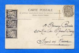 Convoyeur LANDERNEAU A LORIENT De 1904 + Bande De 3 TAXE N° 10 Sur Carte Postale De QUIMPER - Lettres Taxées