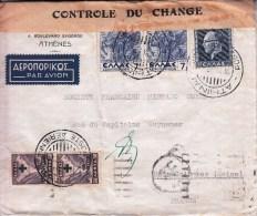 STORIA POSTALE- ATHENES ELLAS GRECIA 18-11-937-Coppia ELLAS 7 +1 Re Da 8 AP+ Coppia Aerienne Da 50 Sovrastampata - Posta