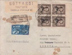 STORIA POSTALE-Centenario Morte G.Donizetti-Quartina AMG-FTT-su Busta Raccom.-TRIESTE17-11-1948 Vedi Descrizione - Correo Postal