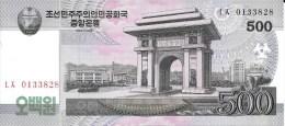 Billet De COREE Du NORD De 500 Won   Pick 63. - Corea Del Norte