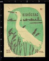 Poster Stamp - Hungarian Matchbox Label  -   Bird Vogel Seidenreiher Little Egret Wading Bird - Boites D'allumettes - Etiquettes