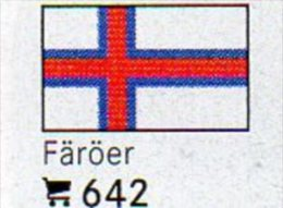 Set 6 Flaggen-Sticker Färöer In Farbe 4€ Zur Kennzeichnung Von Alben + Sammlunge Firma LINDNER #642 Flag Isle Of Danmark - Matériel