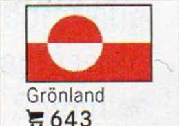 Set 6 Flaggen-Sticker Grönland In Farbe 4€ Zur Kennzeichnung An Alben/Sammlungen Firma LINDNER #643 Flag Isle Of Danmark - Matériel