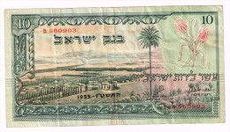 10 ISRAEL LIRA LIROT POUND 1955 NOTE P-27a RED SERIAL - Israel