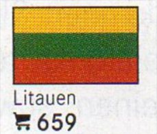 Set 6 Flaggen-Sticker Litauen In Farbe 4€ Zur Kennzeichnung Von Alben Und Sammlungen Firma LINDNER #659 Flag Of LIETUVA - Supplies And Equipment