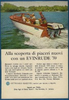 # EVINRUDE Outboard Marine Motor 1950s Italy Advert Pub Pubblicità Reklame Boat Bateau Boot  Sea River Lake Mer Fishing - Boats