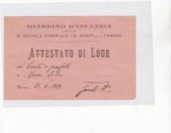 """GIARDINO D´INFANZIA DELLA R. SCUOLA NORMALE  """" B. BERTI""""  DI TORINO - ATTESTATO DI LODE DEL 1929 A MINA SOLERI - Diplomas Y Calificaciones Escolares"""