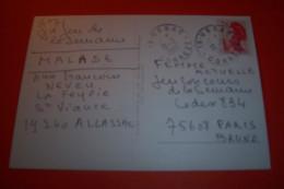 TIMBRE OBLITERATION FLAMME°  19 USSAC CORREZE LE 10 02 1986 - Marcophilie (Lettres)