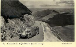 63-L'AUTOROUTE DU PUY DE DOME A FLANC DE MONTAGNE  AVEC VOITURE....CPA ANIMEE - Francia