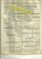 60 - Oise - HERMES - Facture LACCARIERE - Bois - Scierie - Tournerie - TARIF 4 Pages – 1927 - France
