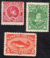 Newfoundland   1887-88   SG49-51  3stamps  OG Or Unused(2c) - Newfoundland