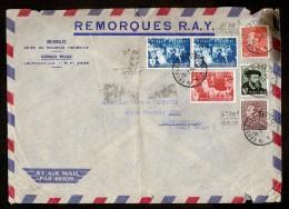 Brief Gefrankeerd Met Nrs. 964 T/e/m 966 + 2 X POORTMAN Per AIR MAIL Van BRUXELLES Naar LEOPOLDVILLE (CONGO BELGE) ! - Storia Postale