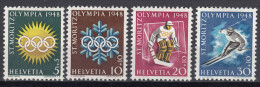 Switzerland 1948 Winter Olympic Games Mi#492-495 Mint Hinged - Suiza