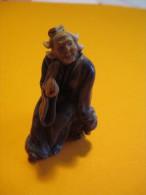 Figurines De Jardin Japonais /2  Piéces /Vieille Femme Et Singe / Seconde Moitié Du XIXéme Siécle  JAP19 - Autres Collections