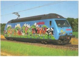 """TRAIN Suisse - EISENBAHN Schweiz - SBB CFF FFS  Locomotive Re 460 017-7 """"Märklin, Alpaufzug"""" - Vaches, Vache, Publicité - Trains"""