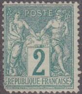 N 62  2C VERT NEUF(*) - B/TB - 1876-1878 Sage (Type I)