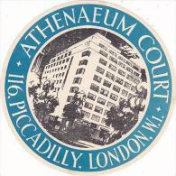 ENGLAND LONDON PICCADILLY ATHENAEUM COURT HOTEL VINTAGE LUGGAGE LABEL - Hotel Labels