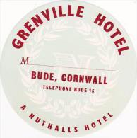 ENGLAND BUDE CORNWALL GRENVILLE HOTEL GREEN VINTAGE LUGGAGE LABEL - Etiketten Van Hotels