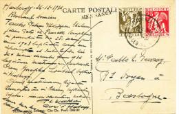 090/22 - Carte - Vue TP Cérès Griffe MESSANCY Via ARLON 1936 - Origine HABERGY - Poststempel