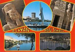 Egypt Aswan Abu Simbel Multi View Postcard 6 - Temples D'Abou Simbel