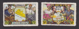 Liberia, Scott #C63-C64,  Mint Hinged, Map And Citizens, Issued 1949 - Liberia