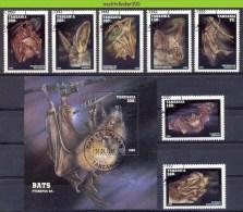 Mwe1552 FAUNA VLEERMUIS VLEERMUIZEN BATS FLUGHUND FLEDERMÄUSE CHAUVE SOURIS TANZANIA 1995 Gebr/used - Vleermuizen
