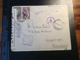 Grand Liban Lettre BEYROUTH 1941 > Cote D´Ivoire Avec Triple Censure FRANCE LIBRE EGYPT CENSOR (guerre 1939-45)