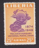 Liberia, Scott #C67,  Mint Hinged, UPU Monument, Issued 1950 - Liberia