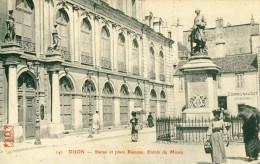 Dijon  Statue Et Place Rameau- Entrée Du Musée  Cpa - Dijon