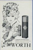 WORTH  - Pub. Magazine Année ´50   (format :15 X 23 Cm.) - Parfum & Cosmetica